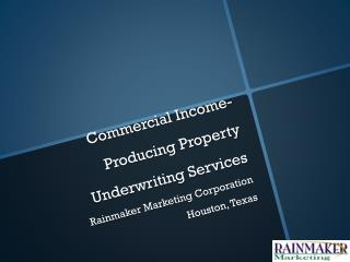 Commercial Income-Producing Property Underwriting Services