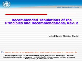 Recommended Tabulations of the Principles and Recommendations, Rev. 2