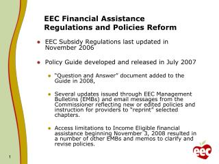 EEC Financial Assistance Regulations and Policies Reform