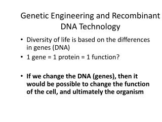 Genetic Engineering and Recombinant DNA Technology