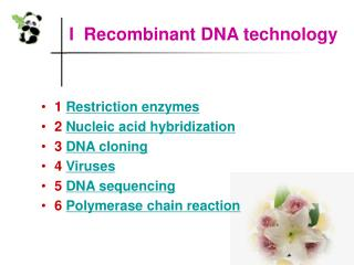 I  Recombinant DNA technology