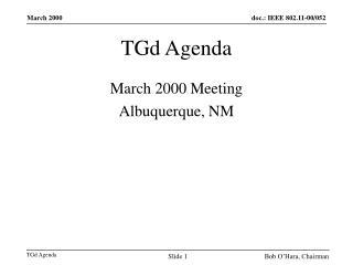 TGd Agenda