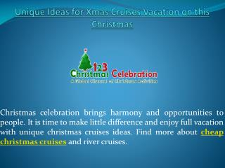 Make a Best Christmas Cruises Deals with 123christmascelebra