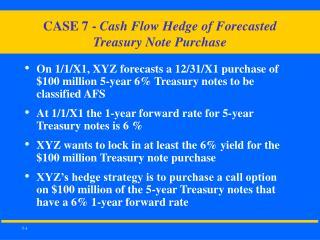 CASE 7 -  Cash Flow Hedge of Forecasted  Treasury Note Purchase