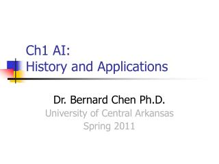Ch1 AI:  History and Applications
