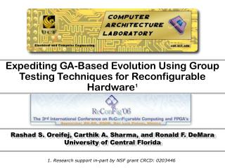 Expediting GA-Based Evolution Using Group Testing Techniques for Reconfigurable Hardware 1