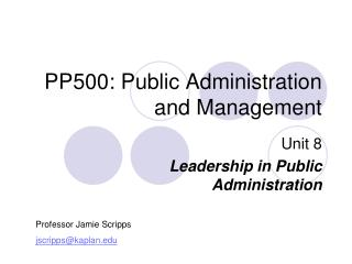 PP500: Public Administration and Management