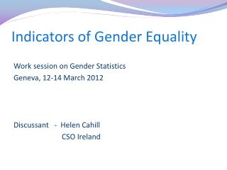 Indicators of Gender Equality