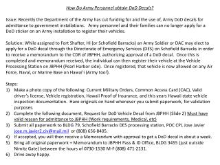 How Do Army Personnel obtain DoD Decals?