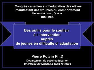 Congrès canadien sur l'éducation des élèves manifestant des troubles du comportement