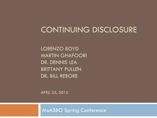 MoASBO  Spring Conference