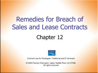 Remedies for Breach of Sales and Lease Contracts
