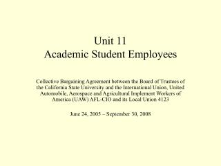 Unit 11 Academic Student Employees
