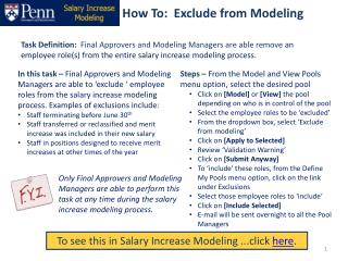 How To:  Exclude from Modeling