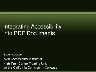 Integrating Accessibility into PDF Documents