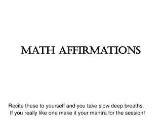Math Affirmations