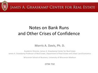 Notes on Bank Runs  and Other Crises of Confidence