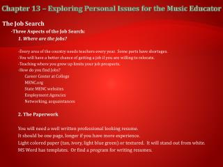 Chapter 13 – Exploring Personal Issues for the Music Educator