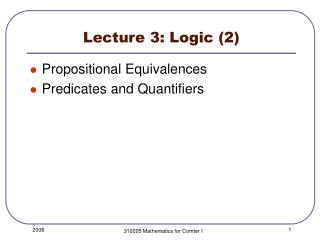 Lecture 3: Logic 2