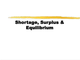 Shortage, Surplus & Equilibrium