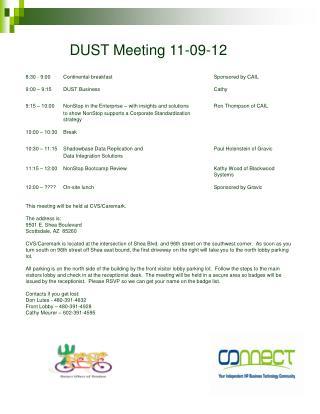 DUST Meeting 11-09-12