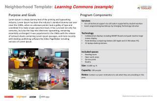 Neighborhood Template:  Learning Commons (example)