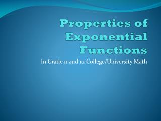 Properties of Exponential Functions