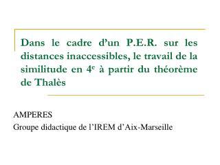 AMPERES Groupe didactique de l'IREM d'Aix-Marseille