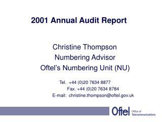 2001 Annual Audit Report