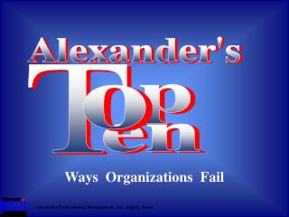 Ways  Organizations  Fail