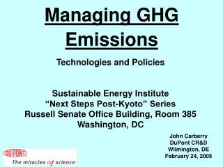 Managing GHG Emissions