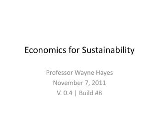 Economics for Sustainability