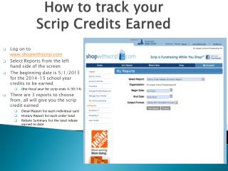 How to track your         Scrip Credits Earned