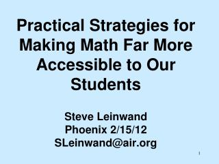 But what does it mean for math to made more accessible?