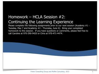 Homework: Recap of HCLA Emersion Session