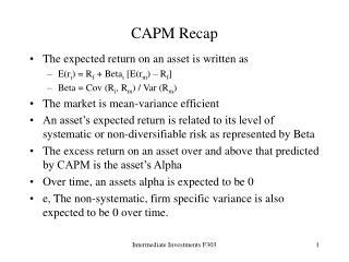 CAPM Recap