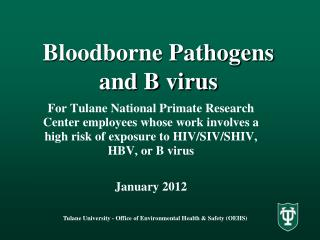 Bloodborne Pathogens and B virus