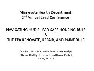 Minnesota Health Department   2 nd  Annual Lead Conference