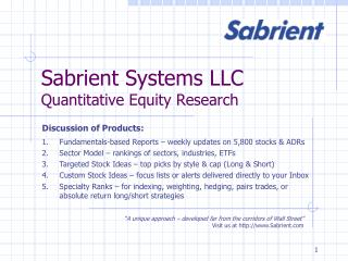 Sabrient Systems LLC Quantitative Equity Research