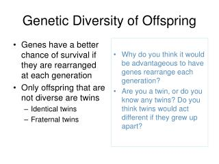Genetic Diversity of Offspring