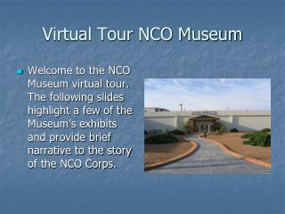 Virtual Tour NCO Museum