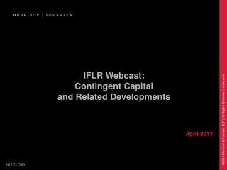 IFLR Webcast: Contingent Capital and Related Developments