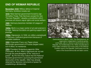 END OF WEIMAR REPUBLIC