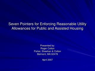 Seven Pointers for Enforcing Reasonable Utility Allowances for Public and Assisted Housing