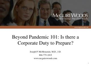 Beyond Pandemic 101: Is there a Corporate Duty to Prepare?