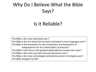Why Do I Believe What the Bible Says? Is it Reliable?