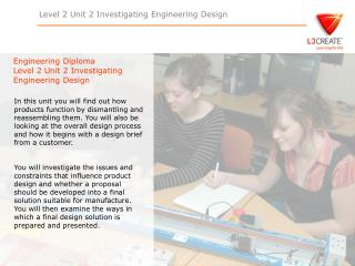Engineering Diploma Level 2 Unit 2 Investigating Engineering Design