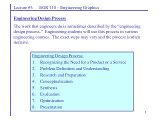 Lecture #3      EGR 110 – Engineering Graphics