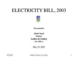 ELECTRICITY BILL, 2003