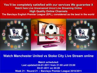 Manchester United vs Stoke City LIVE STREAM ONLINE TV SHOW